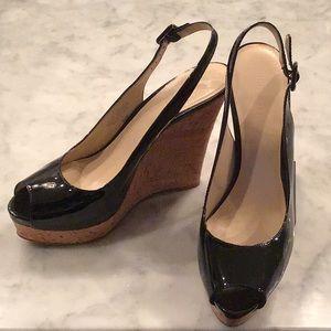 Women's Black Patent Leather Platform Shoes